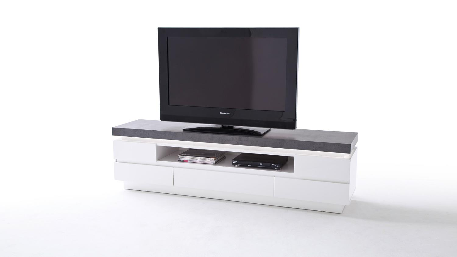 lowboard atlantas tv board in wei matt und beton inkl led. Black Bedroom Furniture Sets. Home Design Ideas