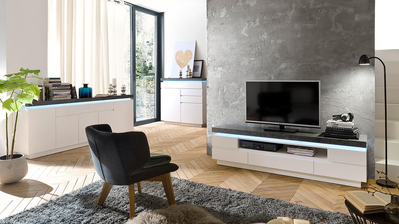 lowboard atlantas tv board in wei matt und beton inkl led. Black Bedroom Furniture Sets. Home Design Ideas