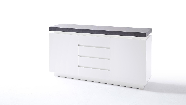 sideboard 1 atlantas kommode wei matt und beton inkl led. Black Bedroom Furniture Sets. Home Design Ideas