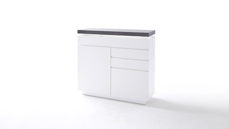 kommode 1 atlantas sideboard wei matt und beton inkl led. Black Bedroom Furniture Sets. Home Design Ideas