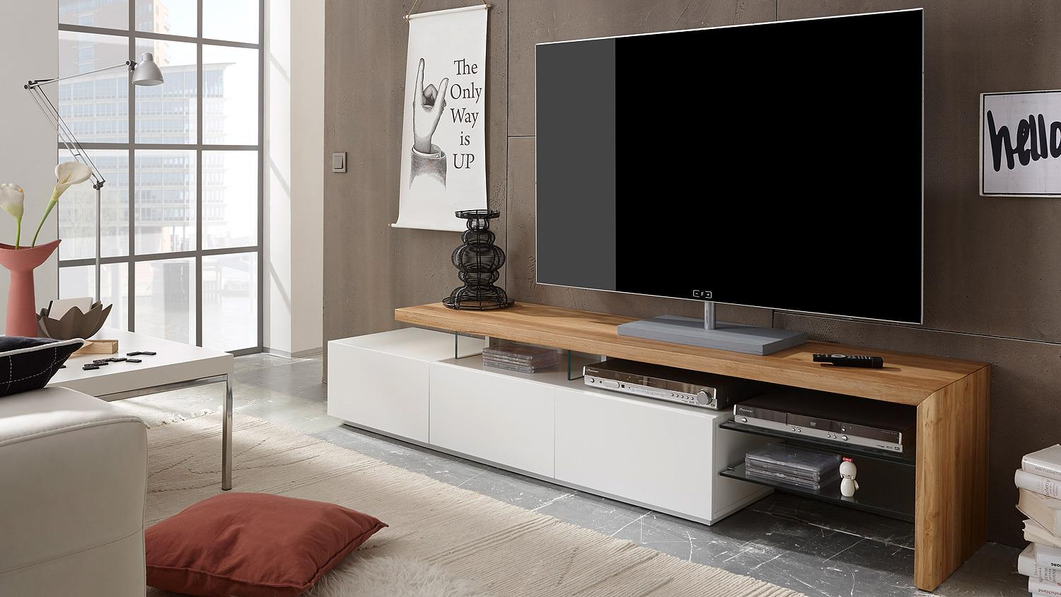 tv rack alimos tv board in wei matt lack und eiche massiv. Black Bedroom Furniture Sets. Home Design Ideas