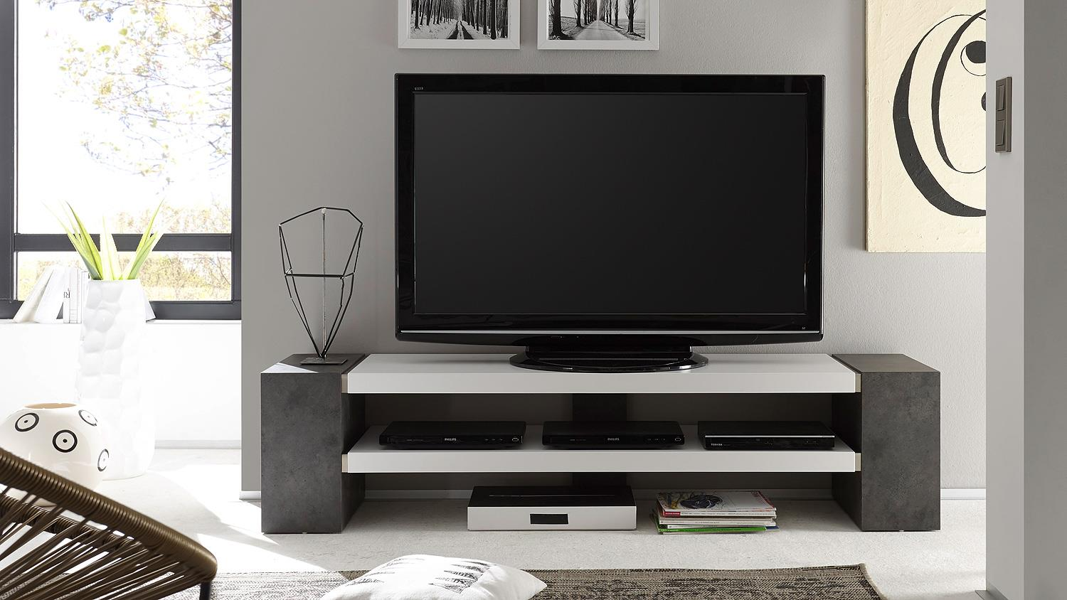 tv rack janes tv board in wei matt lack und beton grau. Black Bedroom Furniture Sets. Home Design Ideas