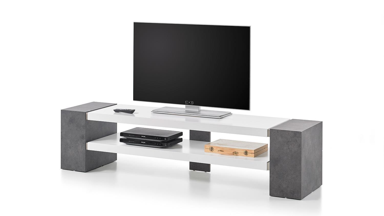 tv rack janes tv board in wei matt lack und beton grau. Black Bedroom Furniture Sets. Home Design Ideas