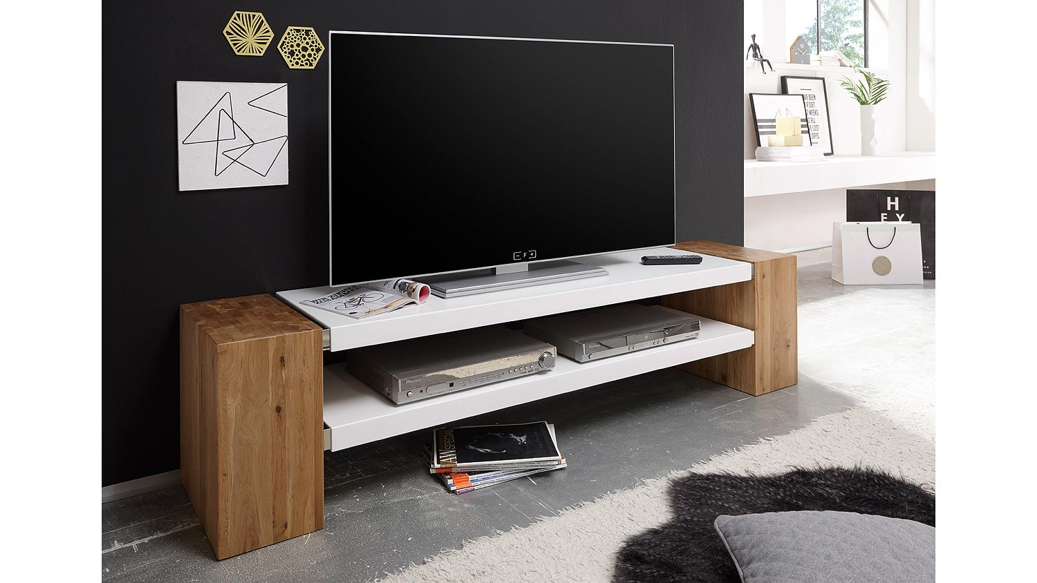 tv rack janes tv board in wei matt lack und eiche massiv. Black Bedroom Furniture Sets. Home Design Ideas