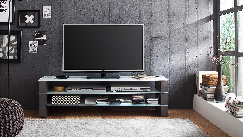 Lowboard Olivias Tv Board Beton Grau Glasablagen In Weiss