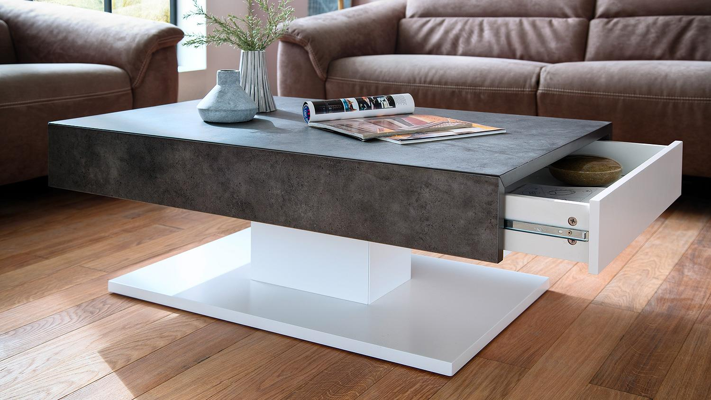 Couchtisch lania beistelltisch beton grau und wei matt lack for Beistelltisch weiss lack
