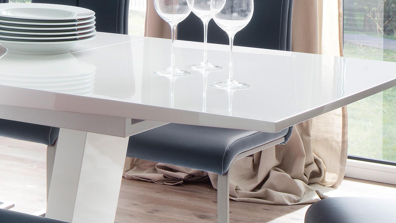 Esstisch tirso tisch wei hochglanz lack mit synchronauszug for Esstisch tisch