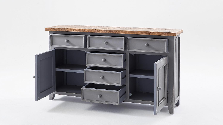 sideboard 1 byron kiefer massiv in antik grau vintage braun. Black Bedroom Furniture Sets. Home Design Ideas