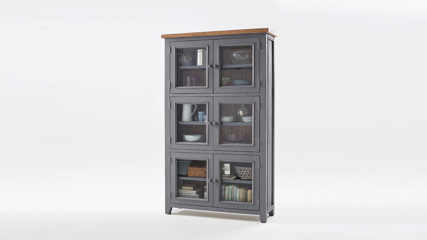 vitrine byron schrank kiefer massiv antik grau vintage braun. Black Bedroom Furniture Sets. Home Design Ideas
