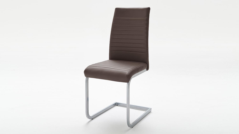 schwingstuhl 4er set edna stuhl in braun und chrom matt lack. Black Bedroom Furniture Sets. Home Design Ideas