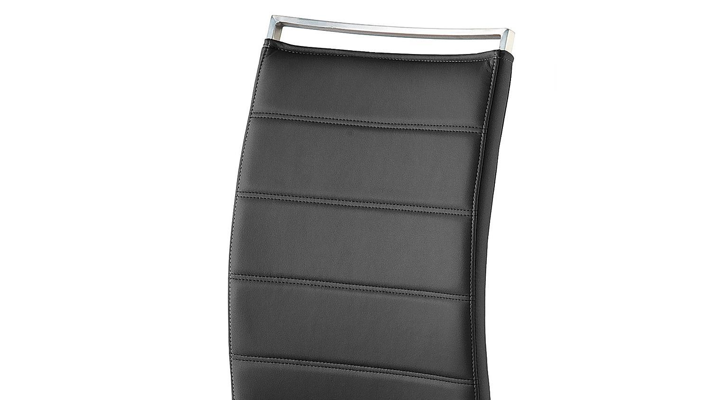 Schwingstuhl 2er set pescara stuhl in schwarz und edelstahl for Schwingstuhl schwarz