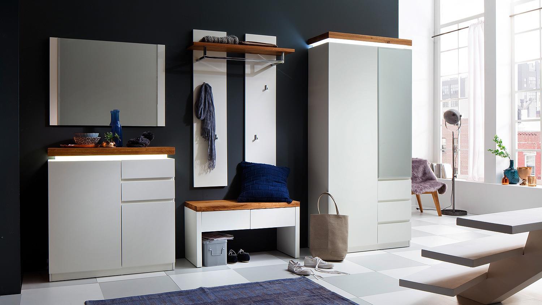 garderobenset romina wei matt lack eiche massiv mit led. Black Bedroom Furniture Sets. Home Design Ideas