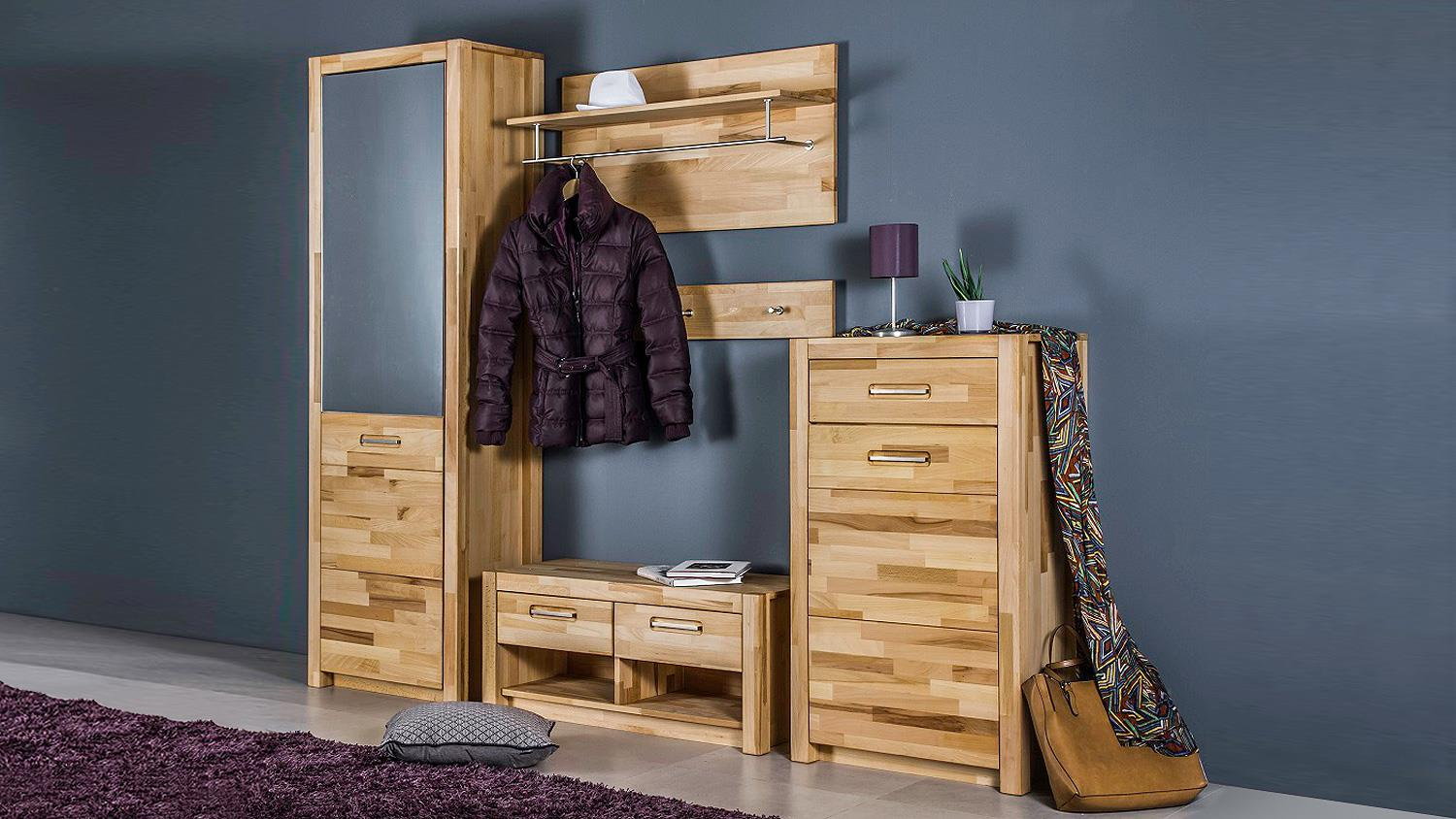 bank fenja garderobe in kernbuche keilverzinkt massiv. Black Bedroom Furniture Sets. Home Design Ideas