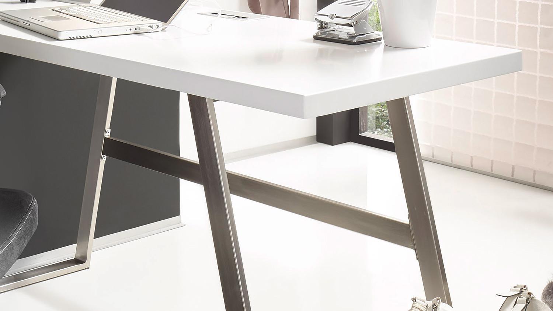 schreibtisch andria computertisch in wei matt lack. Black Bedroom Furniture Sets. Home Design Ideas