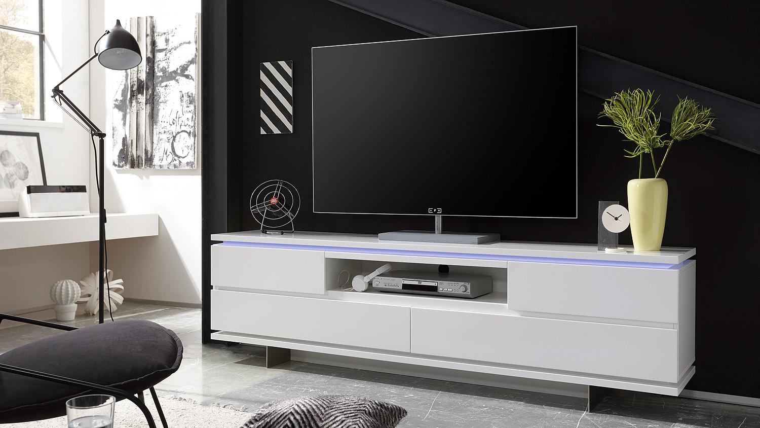 tv board balin lowboard wei matt lackiert mit led. Black Bedroom Furniture Sets. Home Design Ideas