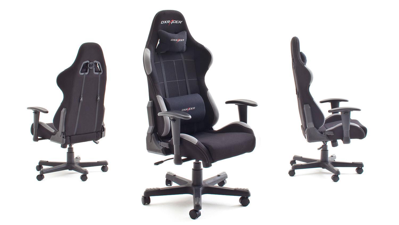 Schreibtischstuhl Bürostuhl Dx Racer 5 Stoff Schwarz Grau