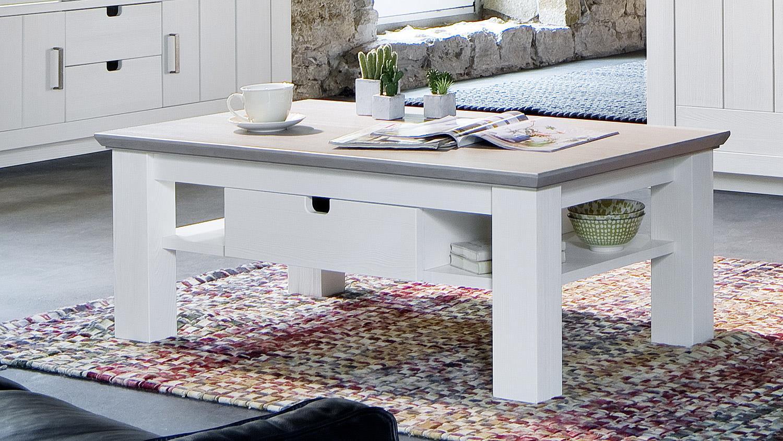 Couchtisch La Palma Tisch In Kiefer Teilmassiv Weiss Taupe Lackiert