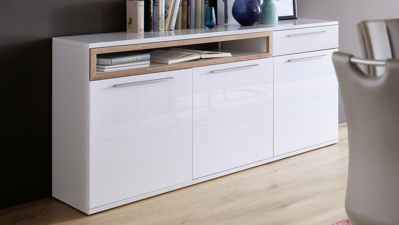 sideboard pamplona kommode in wei hochglanz tiefzieh eiche riviera. Black Bedroom Furniture Sets. Home Design Ideas