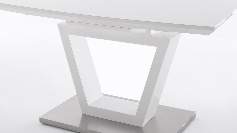 ausziehtisch nicolo esstisch in wei hochglanz und edelstahl. Black Bedroom Furniture Sets. Home Design Ideas