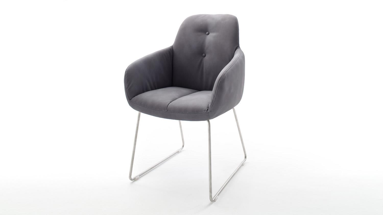 Stuhl Tessera Armlehnstuhl In Stoff Grau Und Edelstahl