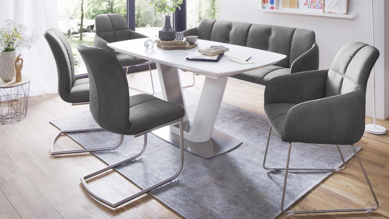 Stuhl tessera armlehnstuhl in stoff grau und edelstahl for Armlehnstuhl grau stoff