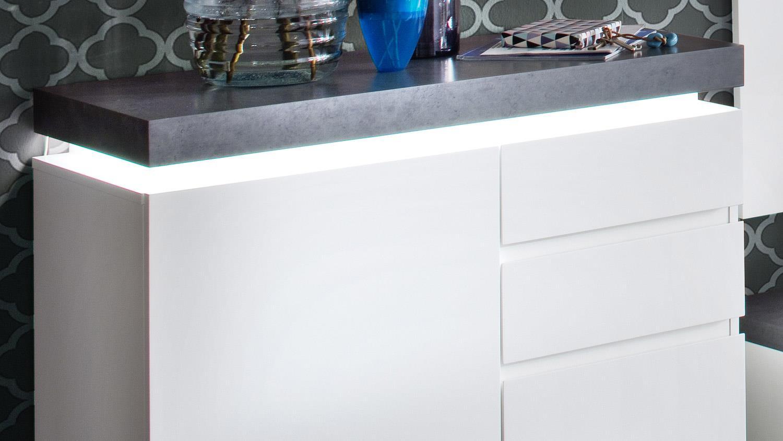 Schuhschrank ATLANTA Schrank in matt weiß und Betonoptik mit LED