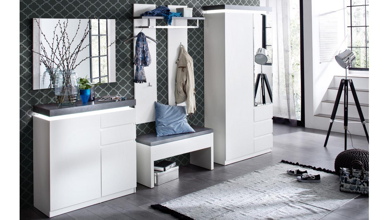 Garderobe set atlanta in matt wei und betonoptik for Set garderobe