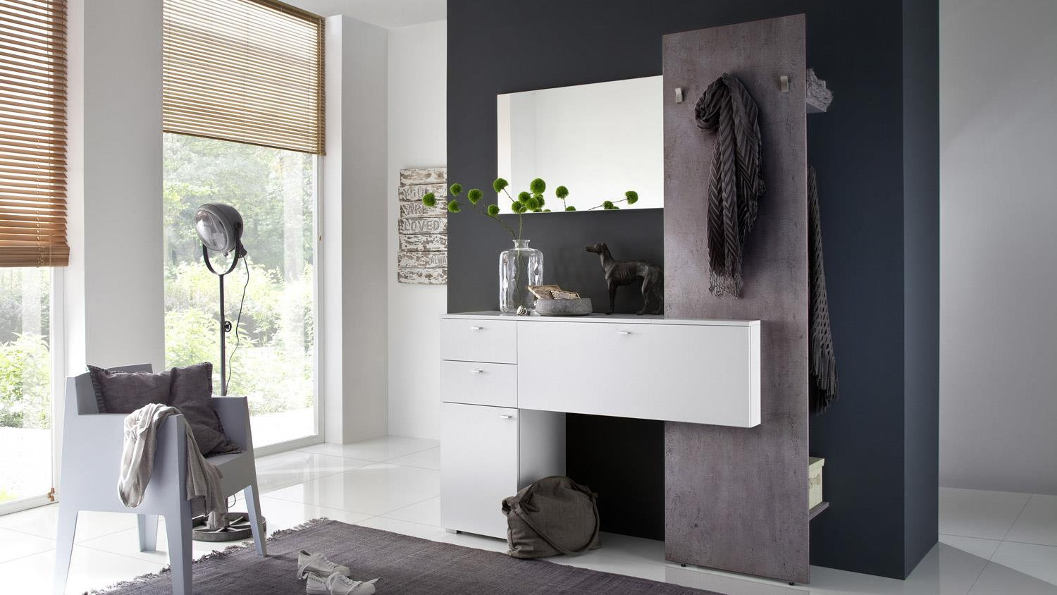 garderobe zuba 3 wandgarderobe flurgarderobe diele wei melamin beton. Black Bedroom Furniture Sets. Home Design Ideas