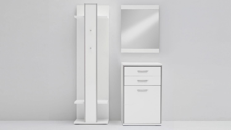 garderobe set trento wei hochglanz tiefzieh absetzung. Black Bedroom Furniture Sets. Home Design Ideas
