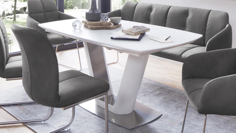 esstisch vanita matt wei mit sicherheitsglas und edelstahl ausziehbar. Black Bedroom Furniture Sets. Home Design Ideas