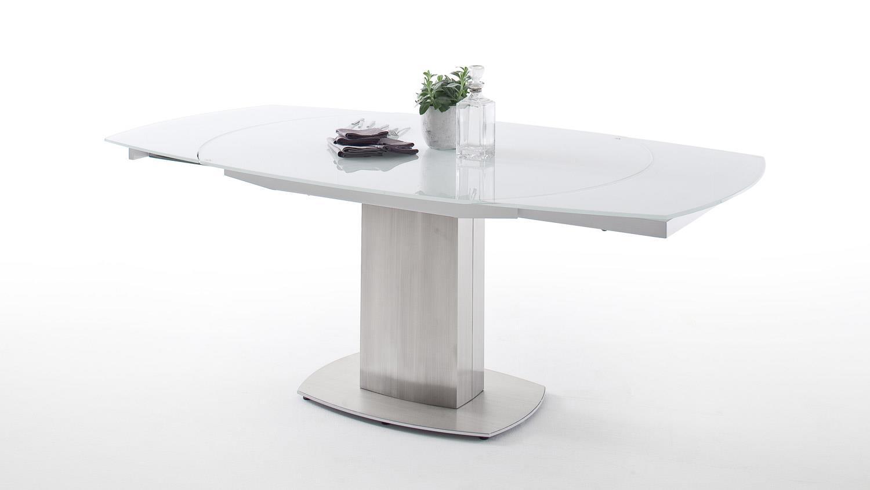 esstisch zelder ausziehtisch glas wei glanz und edelstahl. Black Bedroom Furniture Sets. Home Design Ideas
