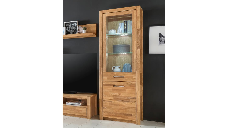 vitrine r fenja wildeiche massiv ge lt furniert inkl led. Black Bedroom Furniture Sets. Home Design Ideas