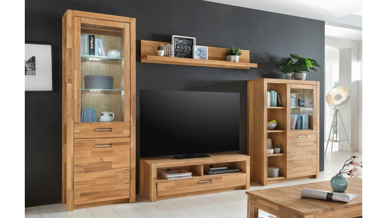 wohnwand fenja wildeiche massiv ge lt furniert inkl led. Black Bedroom Furniture Sets. Home Design Ideas