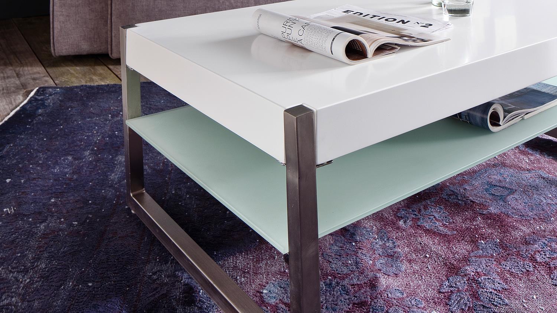 couchtisch migel in mdf und glas wei lack mit metallgestell 105x65 cm. Black Bedroom Furniture Sets. Home Design Ideas