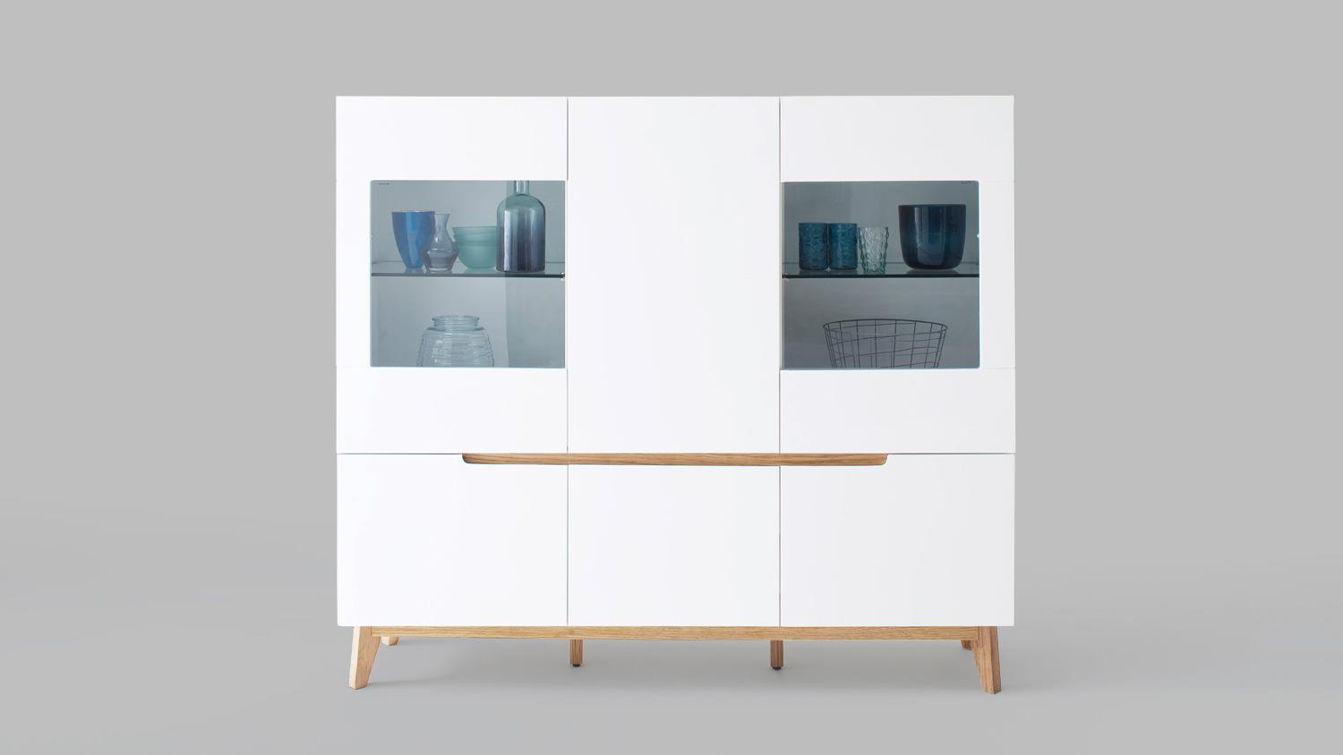 highboard cervo vitrine schrank wohnzimmer wei matt lack und asteiche. Black Bedroom Furniture Sets. Home Design Ideas