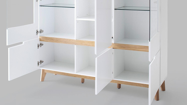 highboard cervo vitrine schrank wohnzimmer wei matt lack und asteiche. Black Bedroom Furniture Sets. Home Design Ideas