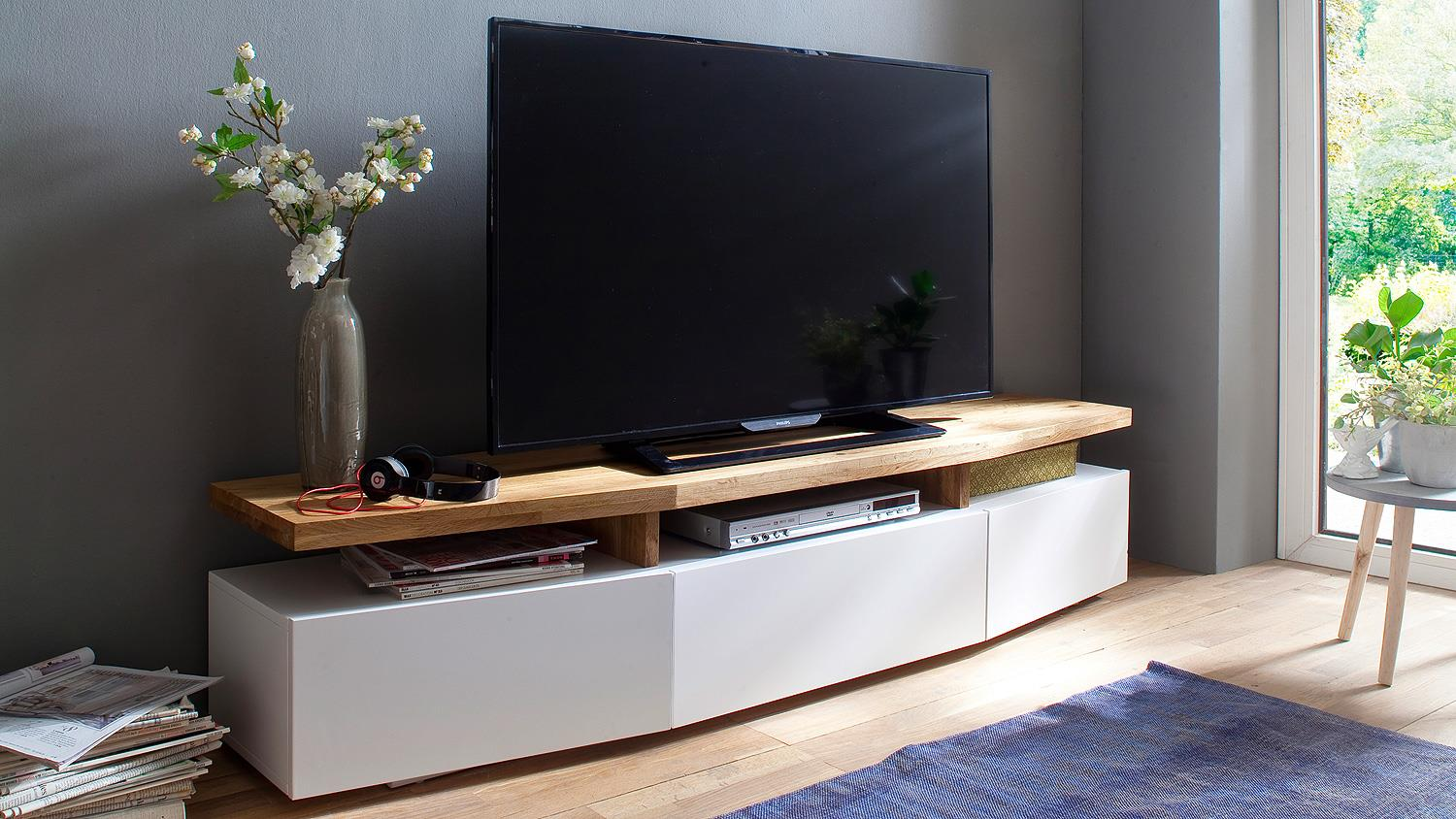 tv lowboard sophie tv board unterschrank wei matt lack eiche massiv. Black Bedroom Furniture Sets. Home Design Ideas