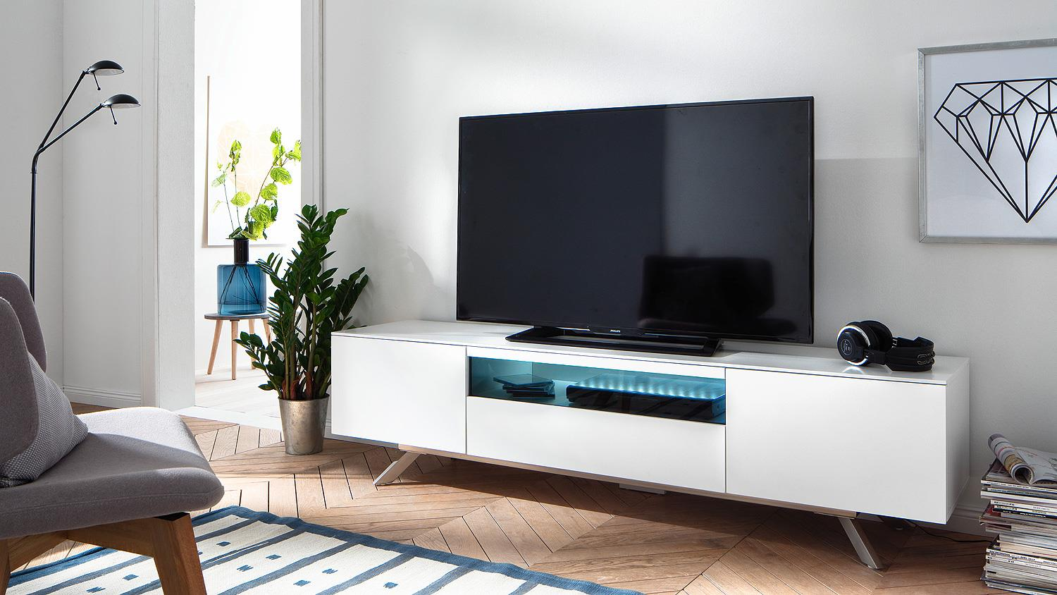 tv board lenia lowboard unterschrank wei matt lack schwarz glas 183. Black Bedroom Furniture Sets. Home Design Ideas