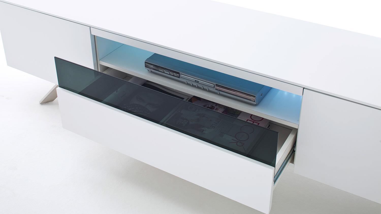 tv board lenia lowboard unterschrank wei matt lack schwarz glas 183. Black Bedroom Furniture Sets. Home Design Ideas