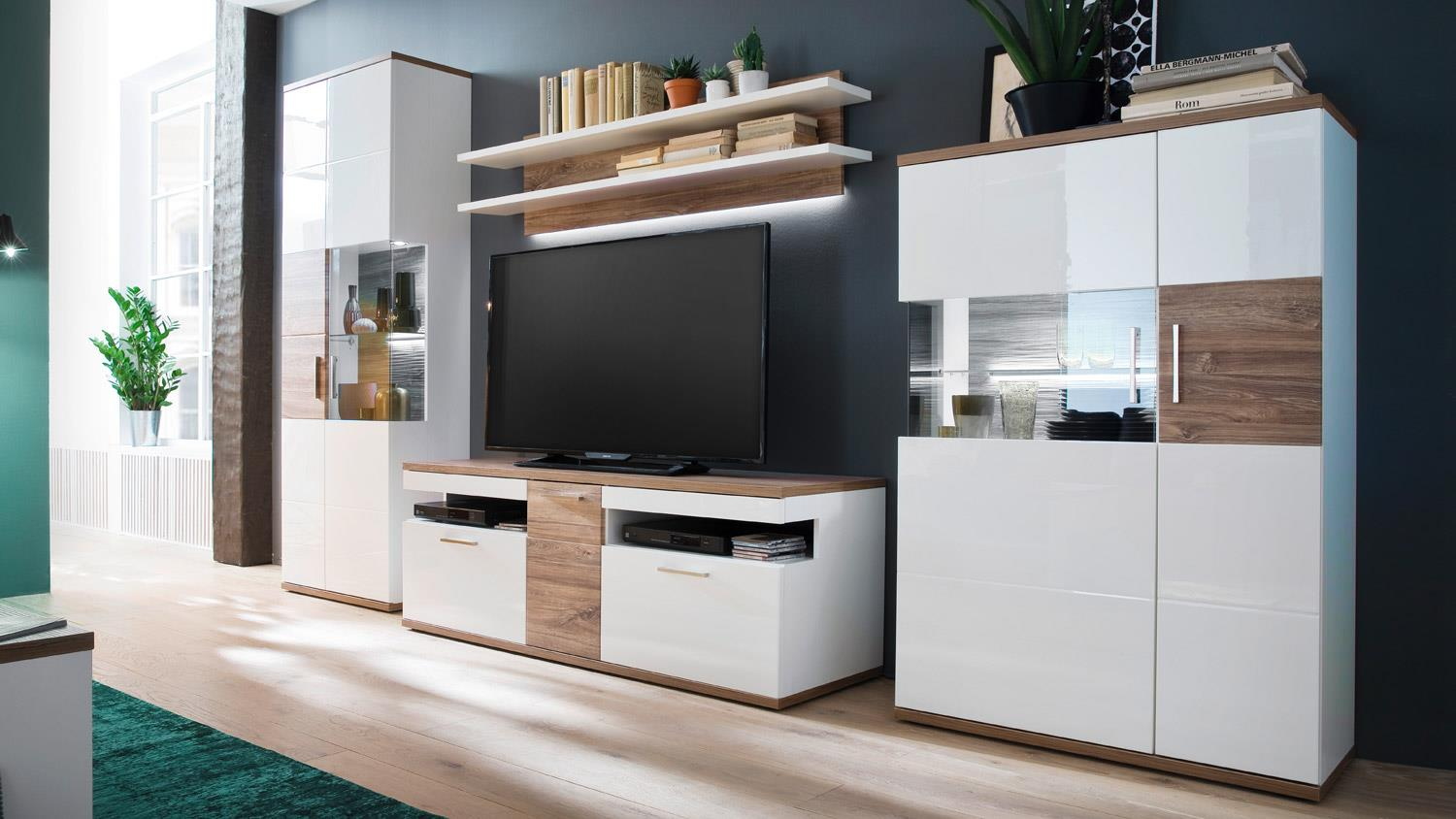 wohnwand luzern 1 anbauwand wei hochglanz und matt mit sterling oak. Black Bedroom Furniture Sets. Home Design Ideas