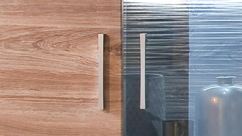 Wohnwand LUZERN 1 Anbauwand weiß Hochglanz und matt mit Sterling Oak