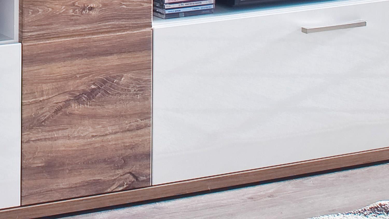 Wohnwand LUZERN 2 Anbauwand weiß Hochglanz und matt mit Sterling Oak
