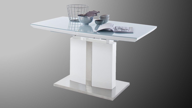 esstisch najuma s ulentisch wei hochglanz und sicherheitsglas. Black Bedroom Furniture Sets. Home Design Ideas