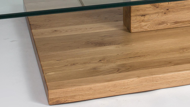 Couchtisch samuel wildeiche massiv ge lt 2 klarglasplatten for Wohnzimmertisch untergestell