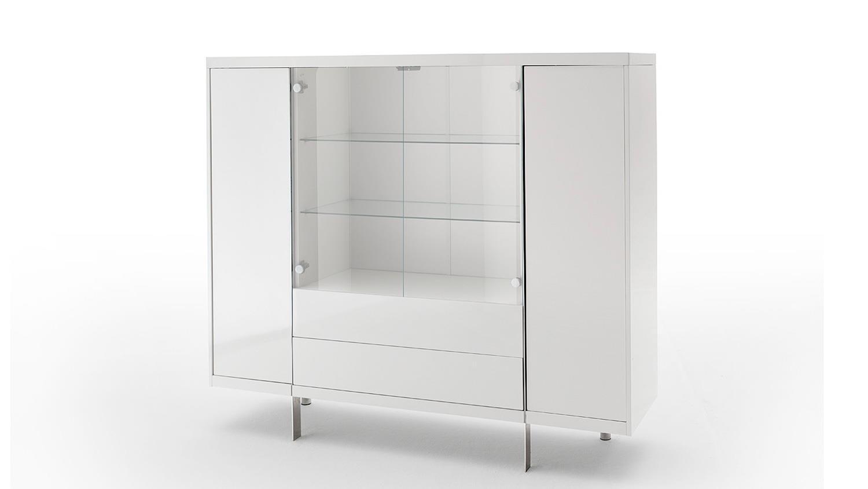 highboard vitrine brisbane wei hochglanz lackiert mit glasfront. Black Bedroom Furniture Sets. Home Design Ideas