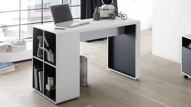 Schreibtisch TADEO Bürotisch Weiß Anthrazit Mit Regal 119