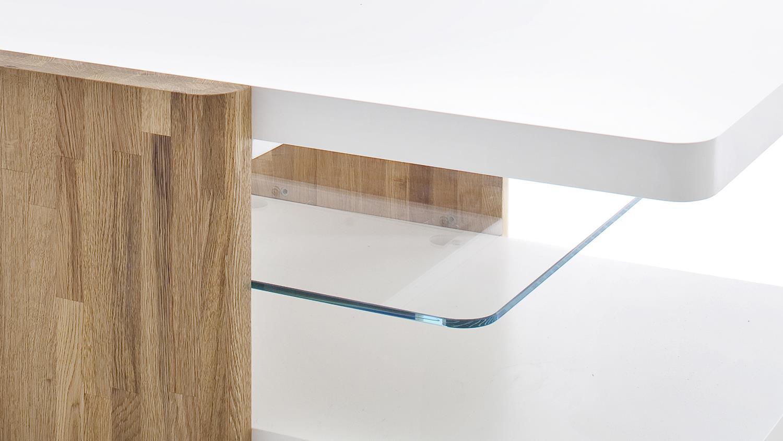 couchtisch sanne matt wei lack mit eiche und klarglas 120. Black Bedroom Furniture Sets. Home Design Ideas