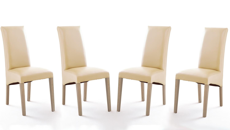 stuhl foxi 4er set lederlook beige gestell eiche sonoma. Black Bedroom Furniture Sets. Home Design Ideas