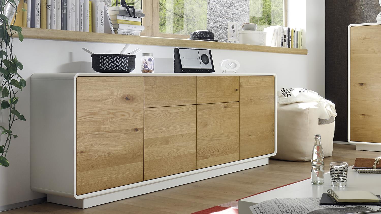 sideboard toulon wei matt lackiert asteiche massivholz 188. Black Bedroom Furniture Sets. Home Design Ideas
