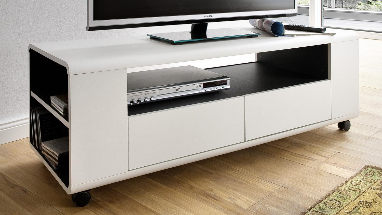 lowboard chelsy tv element wei matt und anthrazit auf rollen. Black Bedroom Furniture Sets. Home Design Ideas
